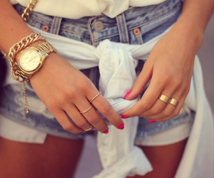 bracelet, jeans, and jewelry image