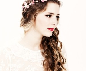 hair, flower crown, and flowers image
