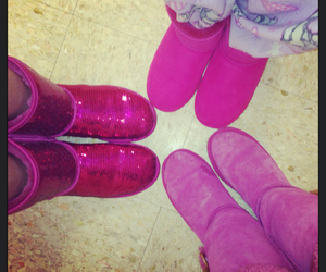 boots, bow, and pink image