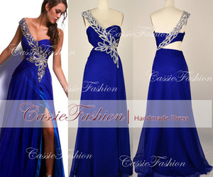 prom dress, one shoulder dress, and blue dress image
