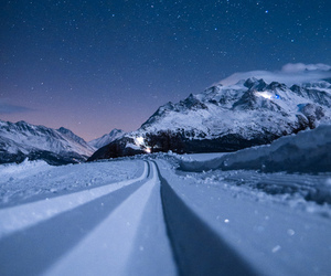 snow, stars, and landscape image