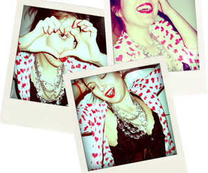 hearts, red lips, and smile image