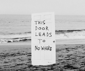 door, beach, and nowhere image