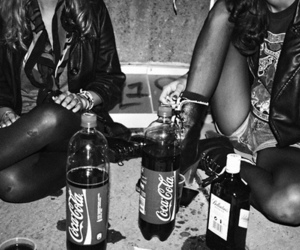 black and white, drink, and coca cola image