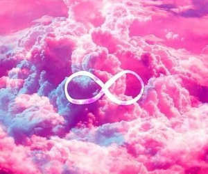 pink, infinity, and clouds image