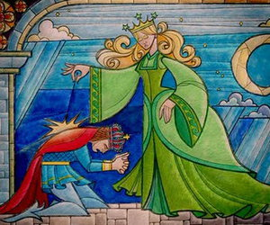 beauty and the beast, green, and fairy image