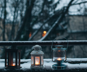 snow, candle, and cold image