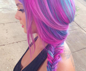 hair, pink, and blue image