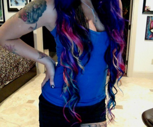 colored hair, curly hair, and dyed hair image