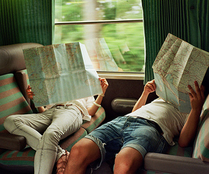 map, travel, and couple image