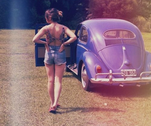 vintage, car, and girl image
