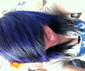 adorable, black hair, and purple hair image