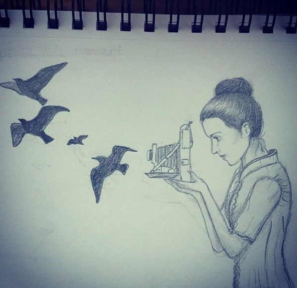 Girl Drawing With Birds Drawing On We Heart It
