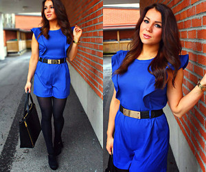 blue, gold, and jumpsuit image