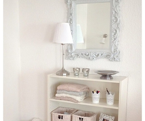 mirror, white, and bedroom image