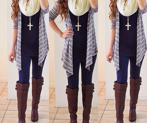 fashion, scarf, and boots image