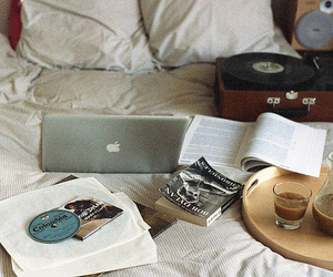 bed, book, and mac image