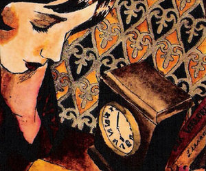 clock, girl, and album cover image