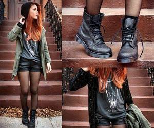 outfit, boots, and black image