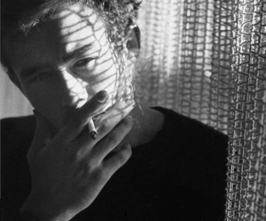 james dean, cigarette, and black and white image