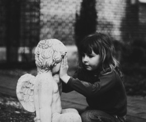 angel, black and white, and child image