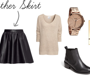 leather skirt, chelsea boots, and outfit image