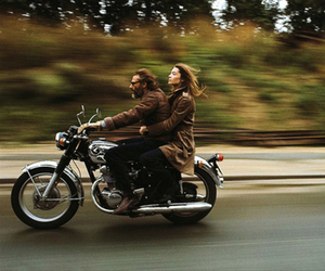 couple, motorcycle, and woman image