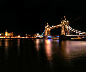 bridge, lights, and london image