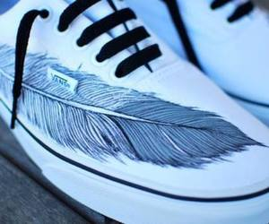 vans, feather, and shoes image