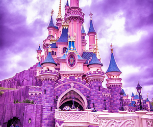 castle, disney, and purple image