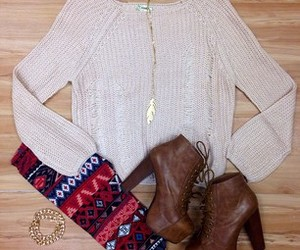 accessories, sweater, and heel boots image