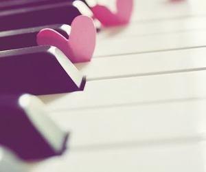 hearts, piano, and purple image