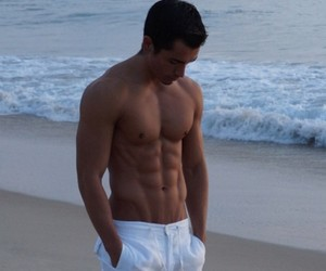 boy, beach, and abs image