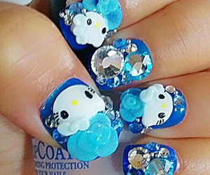bling, hello kitty, and blue image