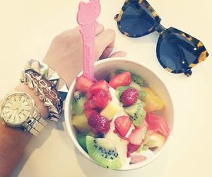 fruit, sunglasses, and food image