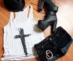 outfit, cross, and black image