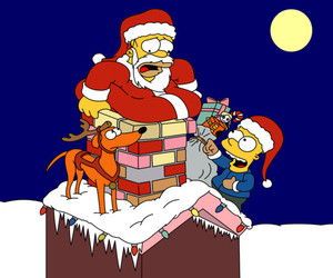 christmas, homer, and simpsons image