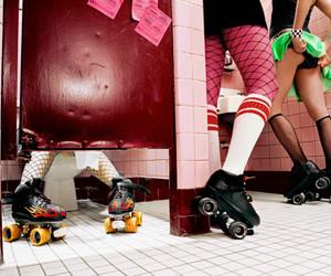 roller derby and bathroom image
