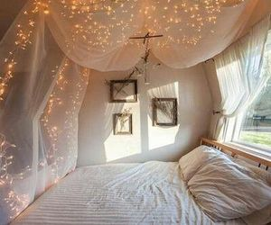 bed, lights, and romantic image