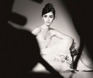 bun, dress, and lilly collins image
