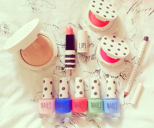 makeup, nails, and lipstick image