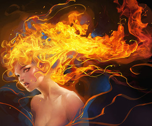 fire, girl, and art image