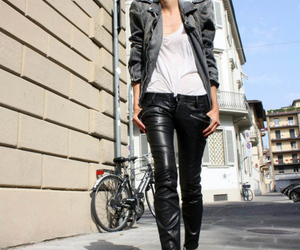 bicycle, leather, and white image