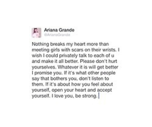 self harm, tweet, and ariana image