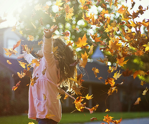 leaves, girl, and autumn image