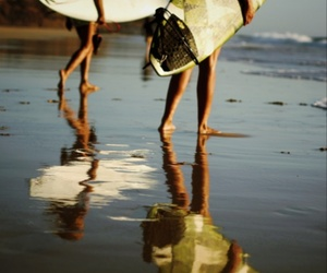 beach, girl, and surf image