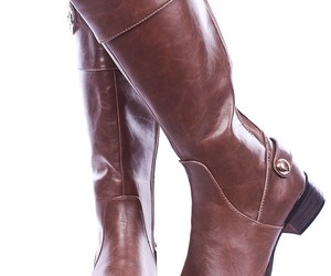 knee high boots, riding boots, and brown leather boots image