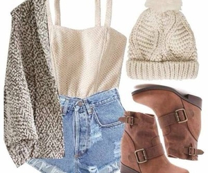 outfit, boots, and autumn image