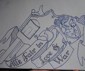 drawing, gun, and heart image