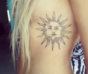 tattoo, sun, and blonde image